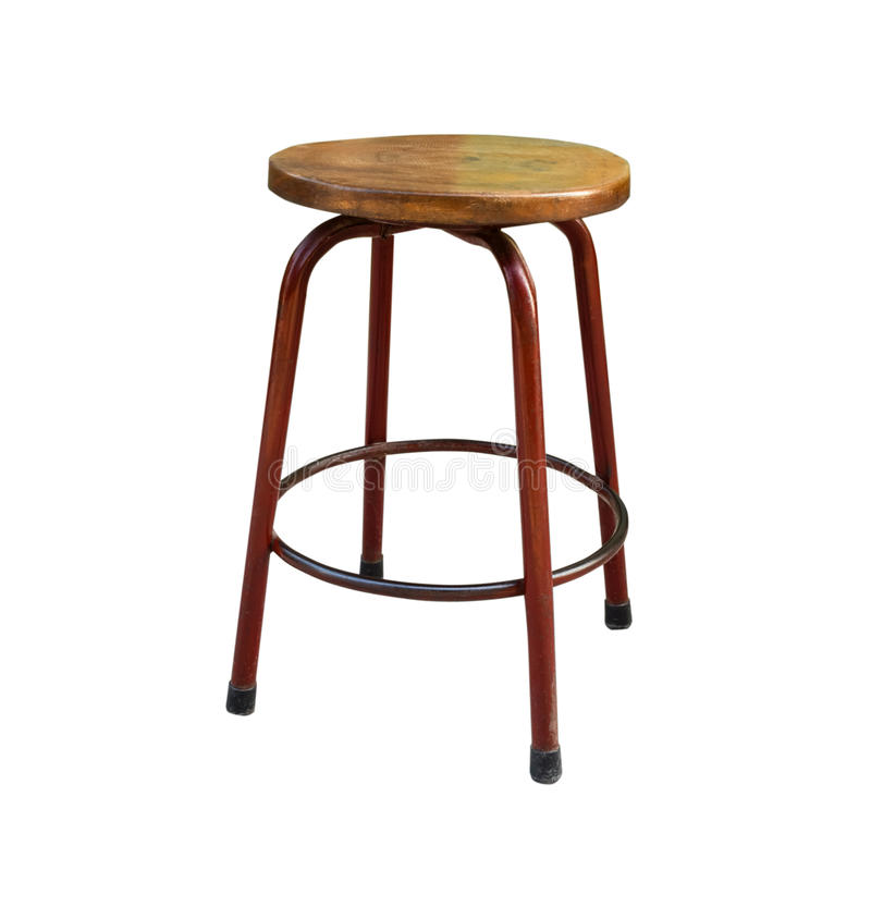 Wooden steel legs simplistic bar chair. Isolated on white background with copy space and clipping path royalty free stock images