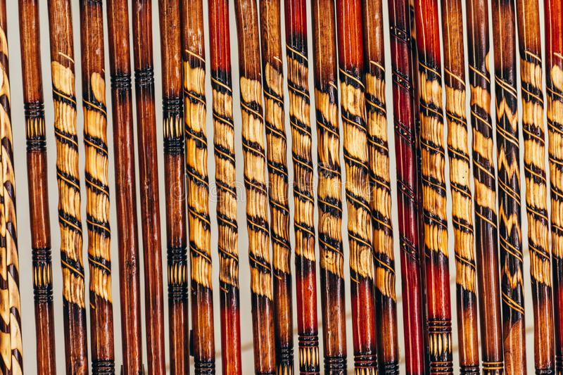 Wooden sticks handmade with different colors and details stock photos