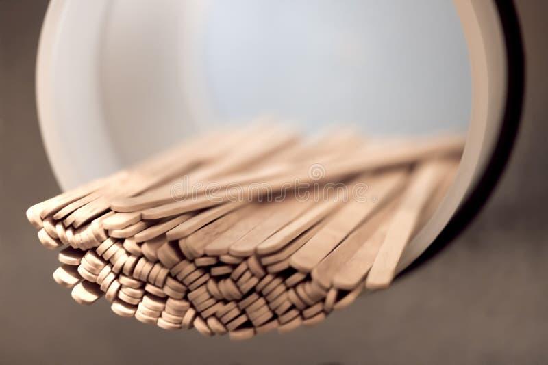 Wooden stir sticks. Coffee shop stock photos