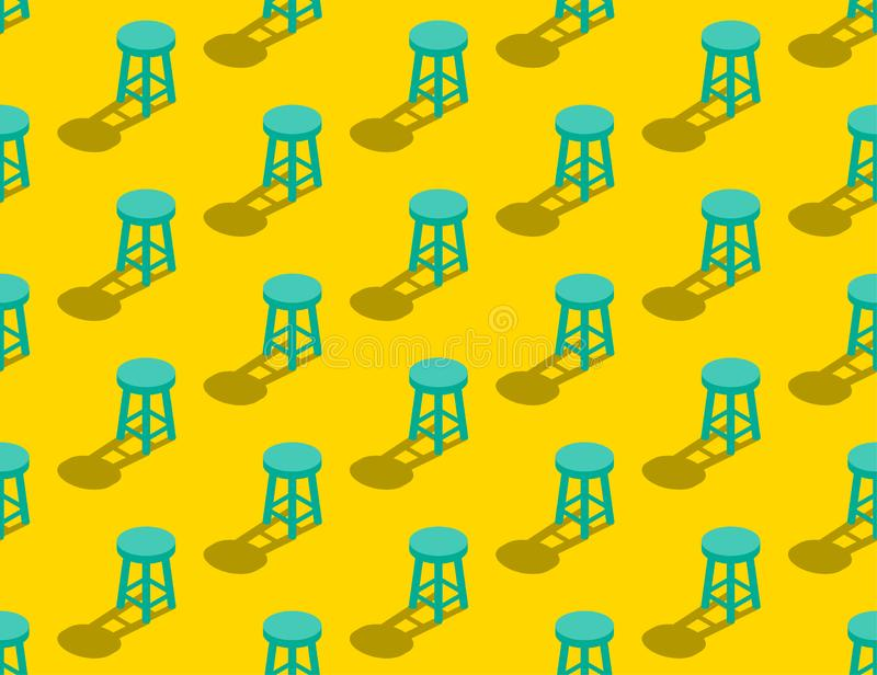 Wooden Stool 3D isometric seamless pattern, Furniture lifestyle concept poster and banner square design illustration isolated on. Yellow background with copy stock illustration