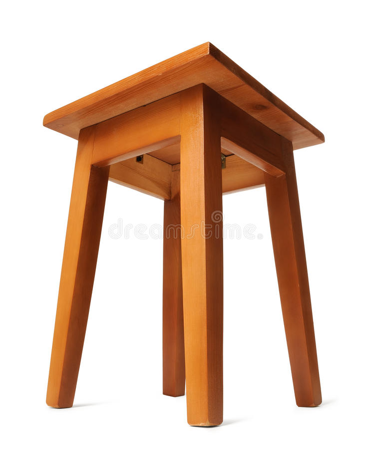 Wooden stool on white background royalty free stock photo