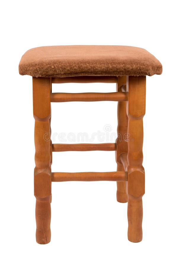 Wooden stool on white background royalty free stock photography