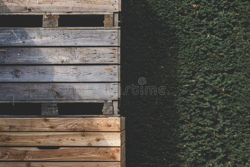 Wooden storage bins outdoor. Commercial wooden crates storage royalty free stock images
