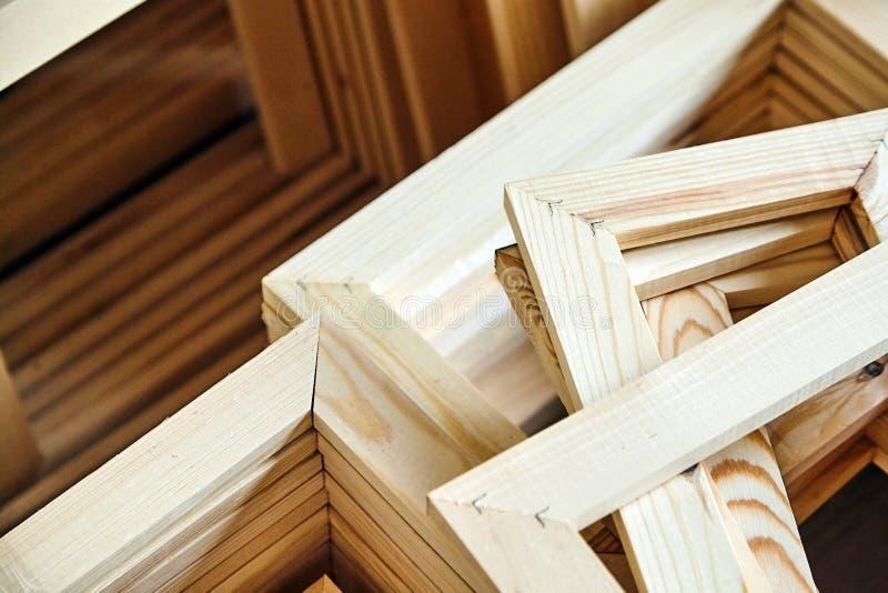 Wooden stretcher bar frames. Subframes stock photo