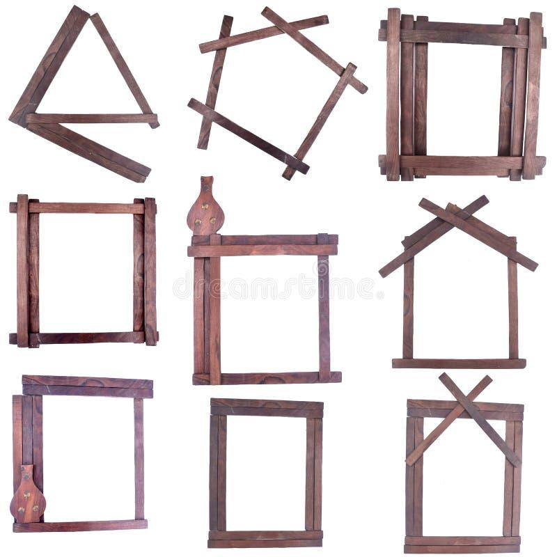 Wooden strips frames. Set of nine wooden strips frames against white royalty free illustration