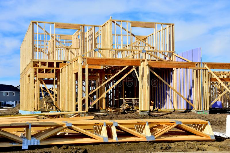 Wood framing of new dream home. royalty free stock photo