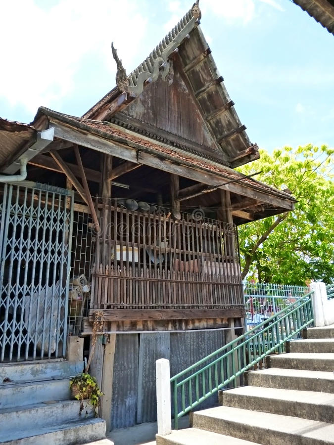 Wooden structure building in thai temple stock photography