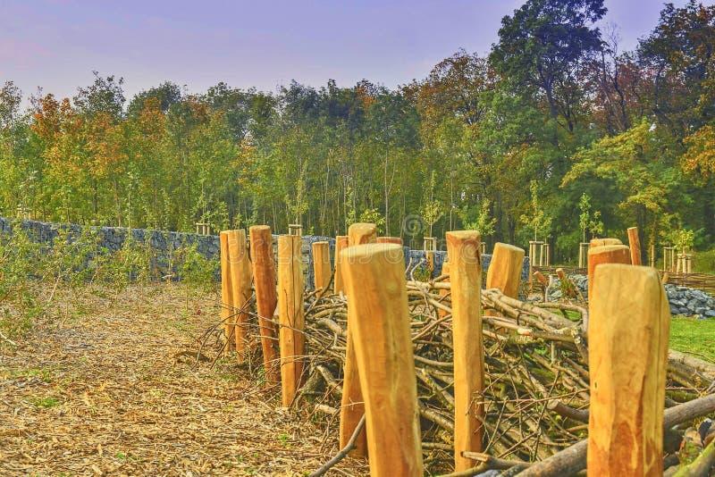 Wooden structure on a children`s playground. Environmentally-friendly playground stock photos