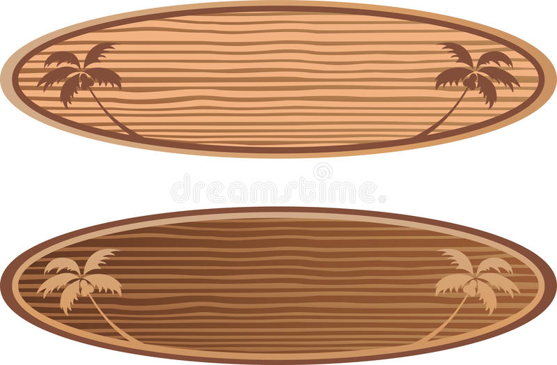 Wooden surf boards with hawaii concept stock illustration