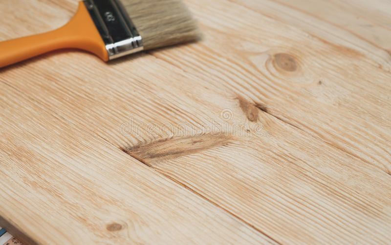 Wooden surface with new boards before painting. stock photos