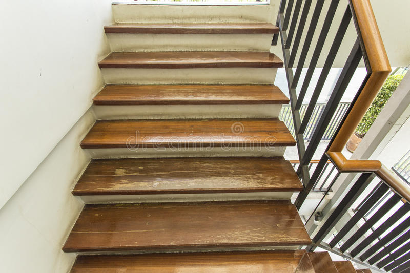 Wooden surface stair. A beautiful wooden surface stair.n stock image