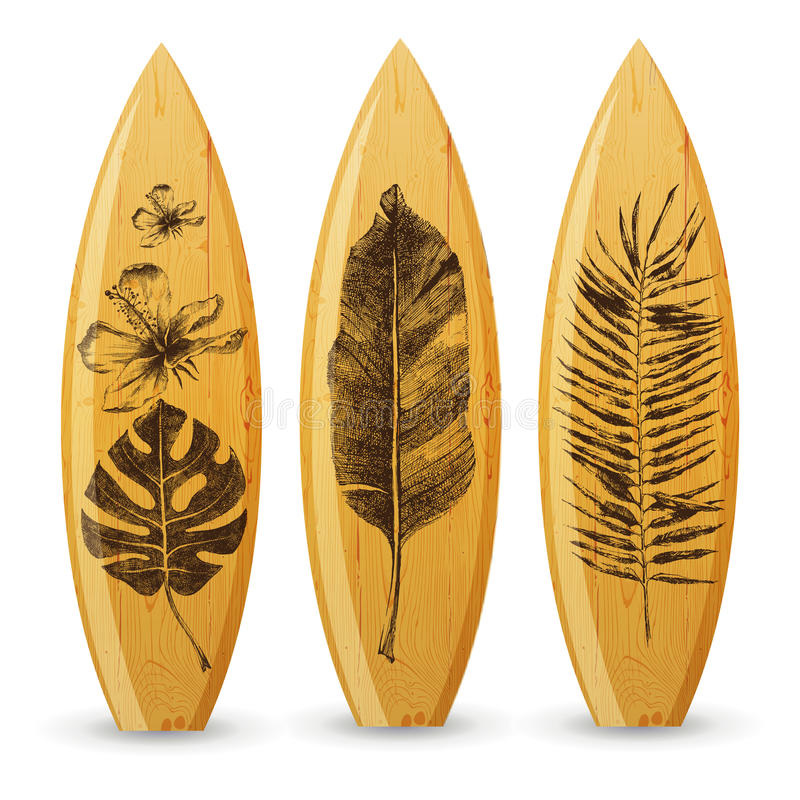 Wooden surfboards with hand drawn tropical leaves stock illustration