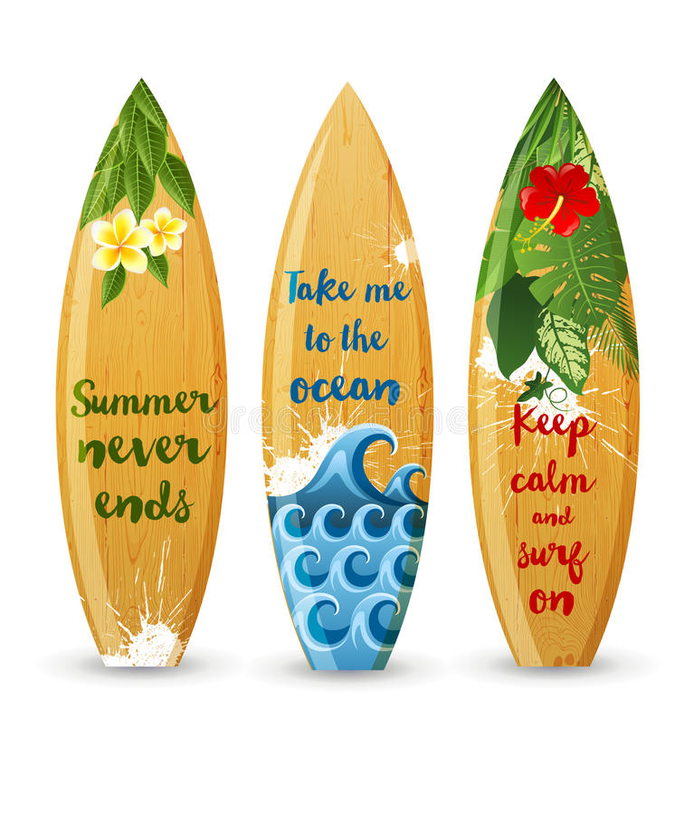 Wooden surfboards with type designs vector illustration