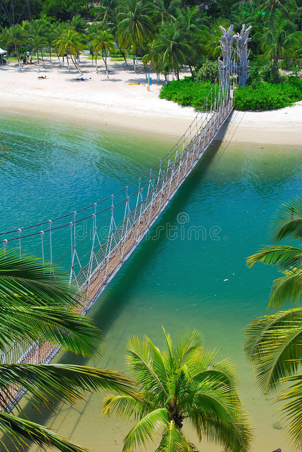 Download Wooden Suspension Bridge To Paradise Island Stock Image - Image: 9456359
