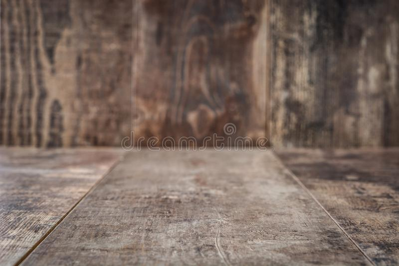 Rustic wooden table background. Empty. stock images