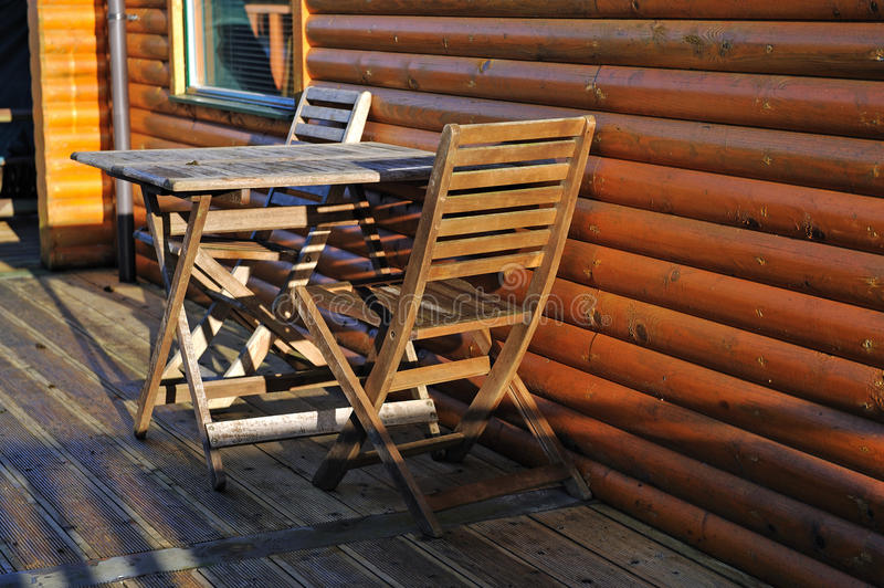 Download Wooden table and chair stock image. Image of cabin, detail - 18395909