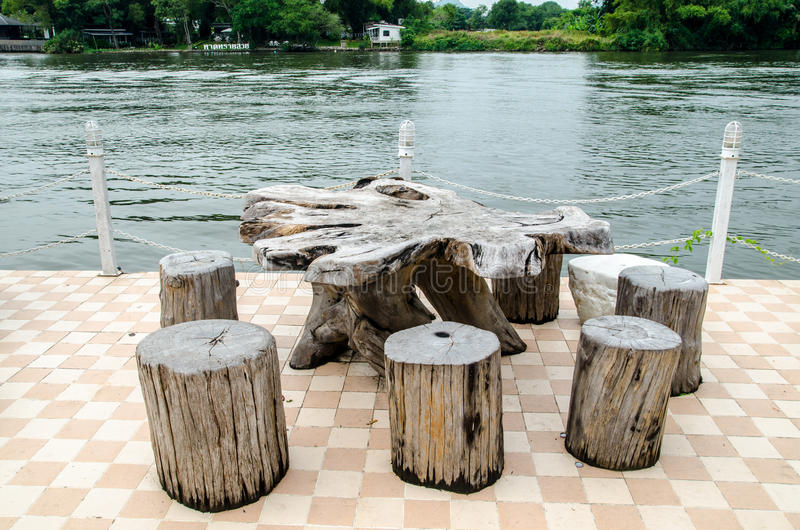 Download Wooden Table And Chairs On Balcony Stock Image   Image Of Colour,  Tree: