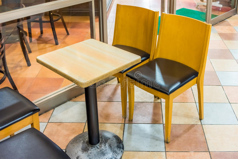 Download Wooden Table And Chairs In A Coffee Shop Stock Image   Image Of  Decoration,