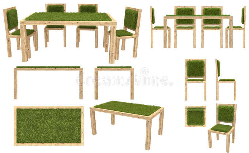 Exceptionnel Download Wooden Table And Chairs With Grass Cover. Garden Furniture. Top  View, Side