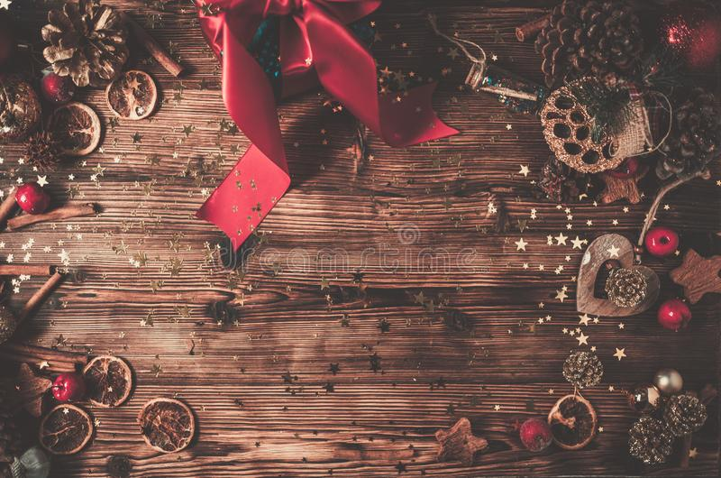 Wooden table with Christmas decoration. Top view of wooden table with Christmas decoration royalty free stock photos