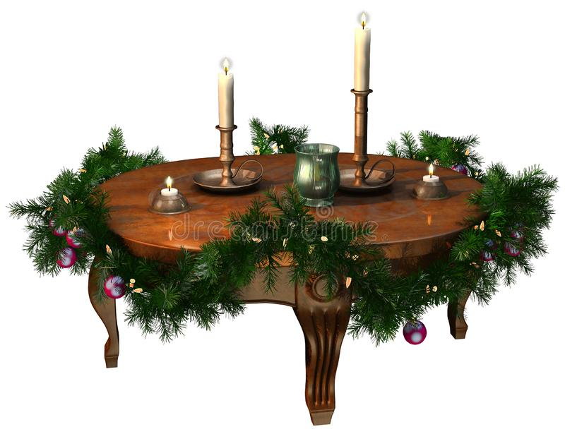 Wooden table with a Christmas garland and candles stock illustration