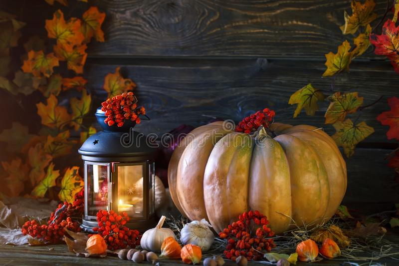 The wooden table decorated with vegetables, pumpkins and autumn leaves. Autumn background. Schastlivy von Thanksgiving stock photos