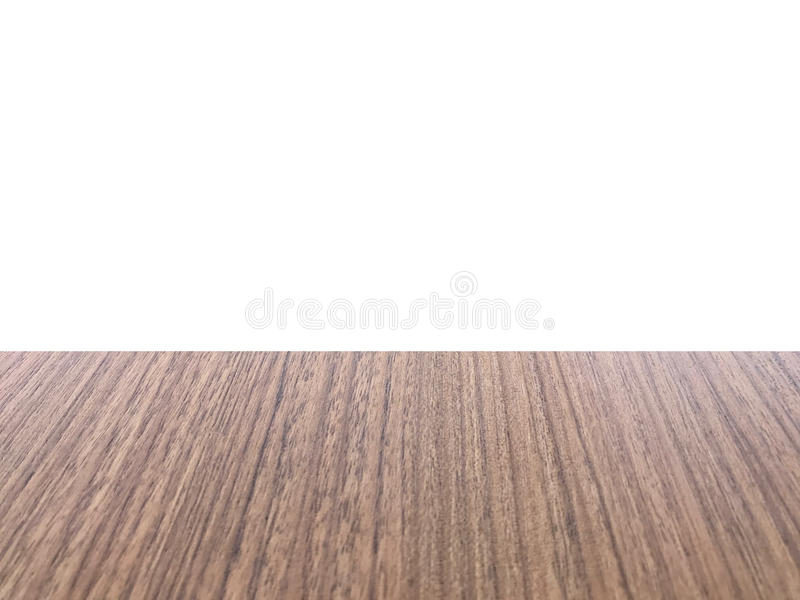 Wooden table on font, white background isolated. Wooden table of brown on font, white background isolated royalty free stock photo