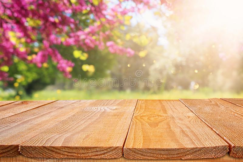 Wooden table in front of spring blossom tree landscape. Product display and presentation.  royalty free stock photography