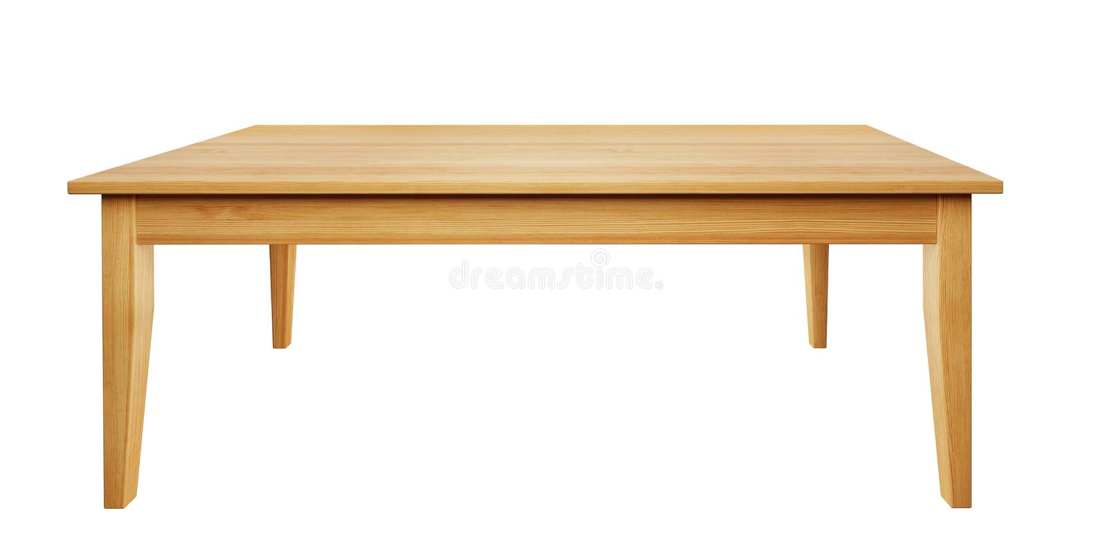 Wooden table isolated on white background with clipping path included, 3D render. Front view of wooden table isolated on white background with clipping path royalty free illustration