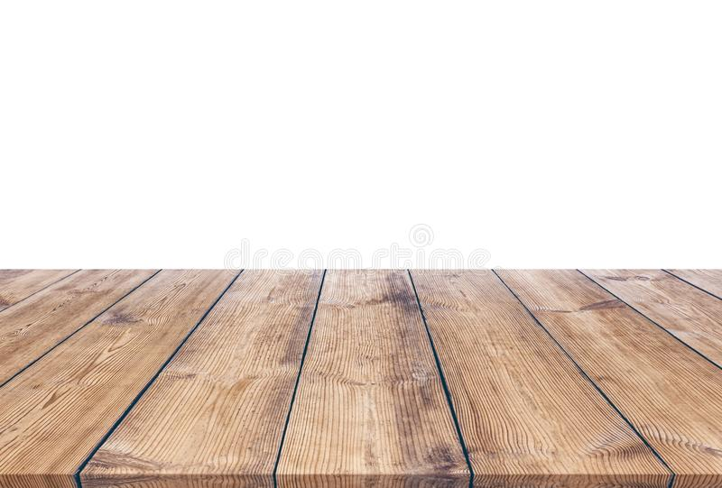 Wooden table isolated on white background stock photos