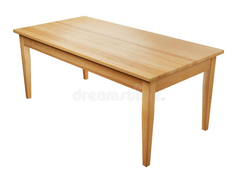 Wooden table isolated on white with clipping path included, 3D render. Big, wooden table isolated on white background with clipping path included, 3D render vector illustration