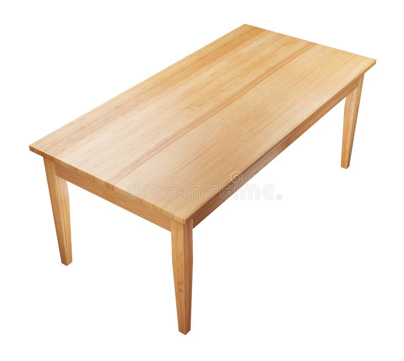 Wooden table isolated on white with clipping path included, 3D render. Big, wooden table isolated on white background with clipping path included, 3D render royalty free illustration