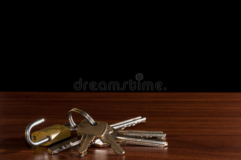 The wooden table,Keychain on the table background.  stock photography