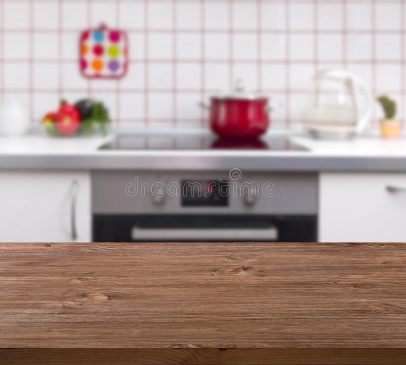 Wooden Table On Kitchen Bench Background Stock Image