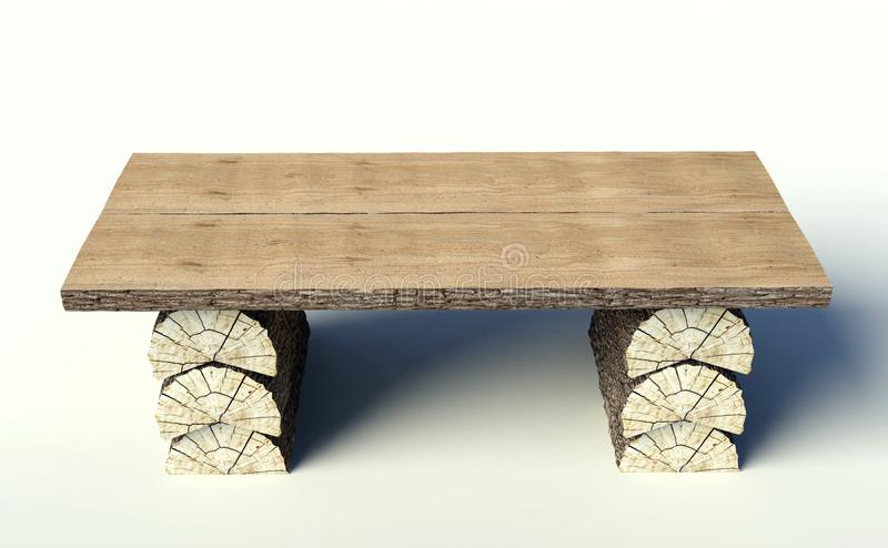 Wooden Table Made Of Tree Trunks Stock Illustration Illustration