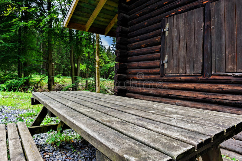 Wooden table for picnic royalty free stock image
