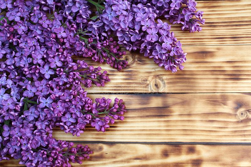 On a wooden table are several branches of lilac stock images