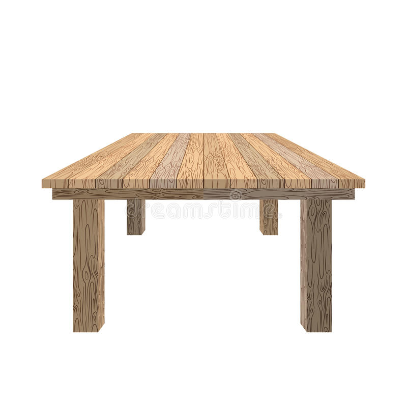 Wooden table. Tabletop wood texture. Old desk on white. Background. Piece of furniture from wood of Linden royalty free illustration