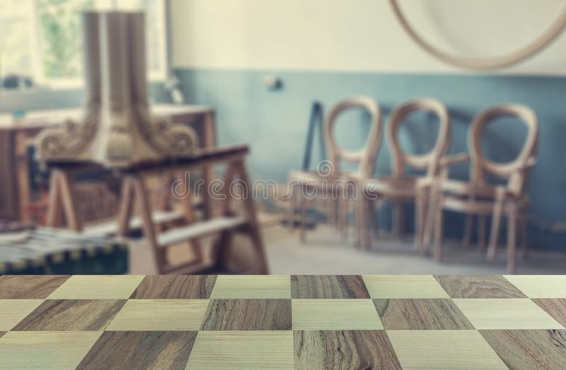 Wooden table, texture of wood and blurred space. woodworking workshop. for joinery. Wood processing. Joinery work. wood carving. i stock photo