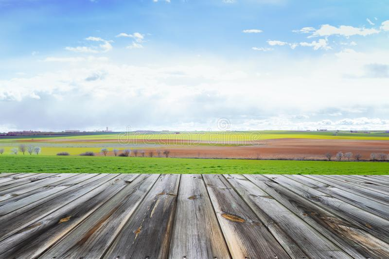 Wooden table top with fresh green field and blue sky in summer. Space for present a product. Wooden table top with fresh green field and blue sky in summer stock photos
