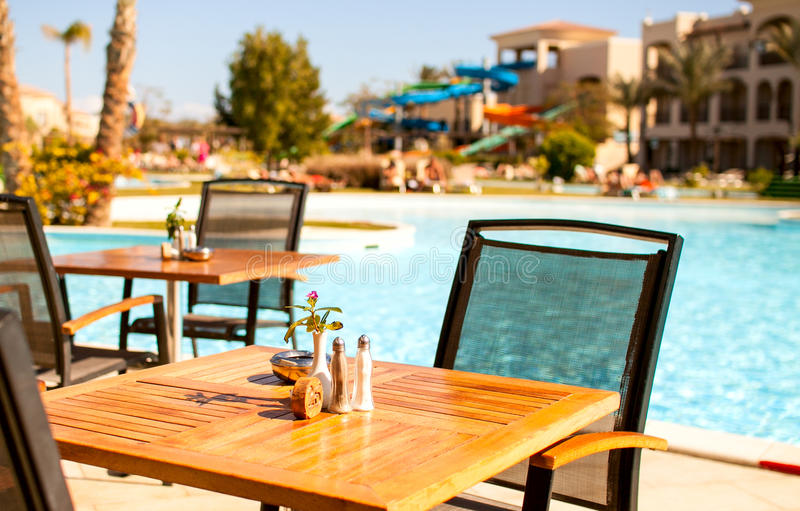 wooden table top pool with blurred background - can be used for mounting stock image