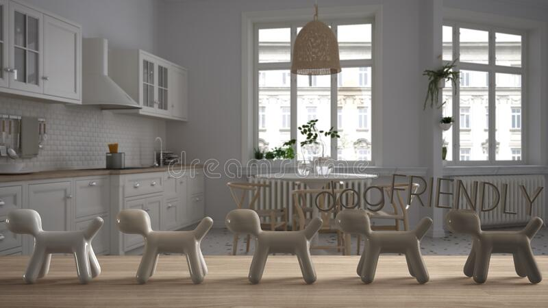 Wooden table top or shelf with line of stylized dogs, dog friendly concept, love for animals, animal dog proof home, classic white. Kitchen with dining table vector illustration