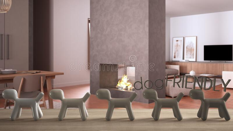 Wooden table top or shelf with line of stylized dogs, dog friendly concept, love for animals, animal dog proof home, cosy living. Room with concrete fireplace vector illustration