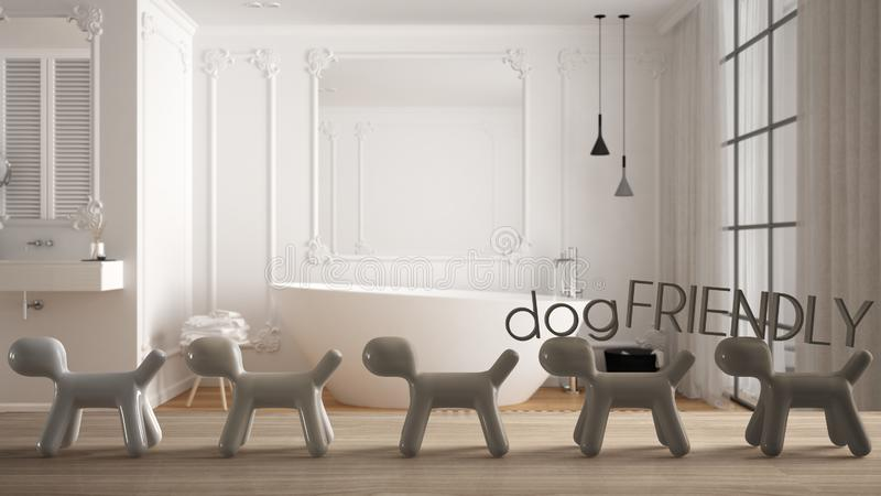 Wooden table top or shelf with line of stylized dogs, dog friendly concept, love for animals, animal dog proof home, modern white. Bathroom with bathtub, cool stock illustration