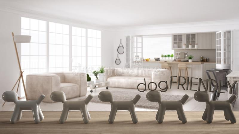 Wooden table top or shelf with line of stylized dogs, dog friendly concept, love for animals, animal dog proof home, scandinavian. White living room with stock photos