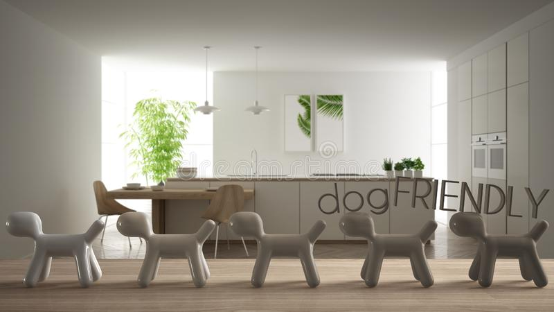 Wooden table top or shelf with line of stylized dogs, dog friendly concept, love for animals, animal dog proof home, modern white. Kitchen with island and vector illustration