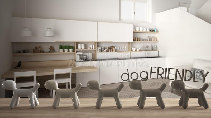 Wooden table top or shelf with line of stylized dogs, dog friendly concept, love for animals, animal dog proof home, modern white. Kitchen with staircase, cool stock illustration