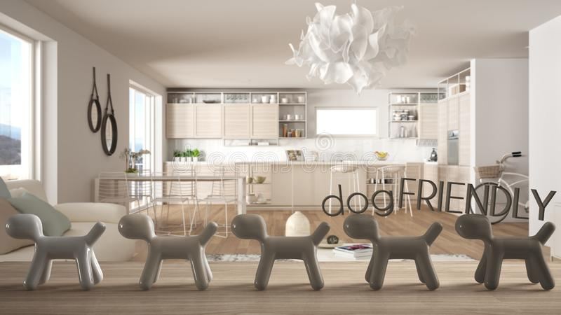 Wooden table top or shelf with line of stylized dogs, dog friendly concept, love for animals, animal dog proof home, modern white. Kitchen with island and royalty free illustration