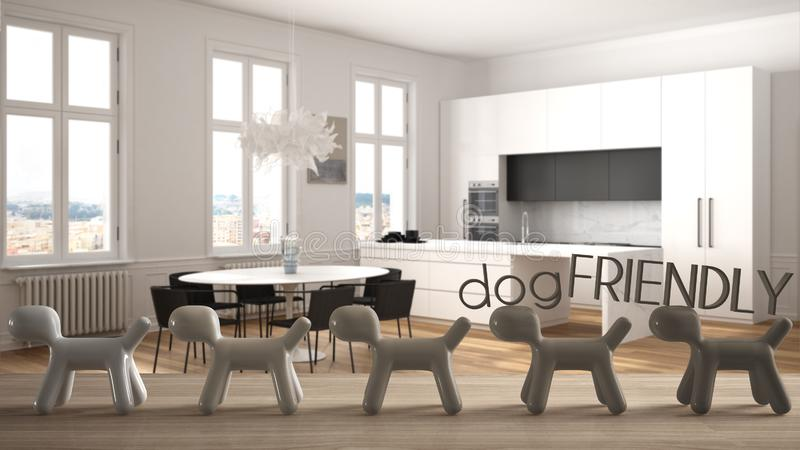 Wooden table top or shelf with line of stylized dogs, dog friendly concept, love for animals, animal dog proof home, modern white. Kitchen with dining table royalty free illustration