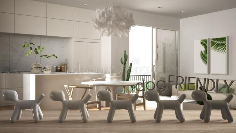 Wooden table top or shelf with line of stylized dogs, dog friendly concept, love for animals, animal dog proof home, modern white. Kitchen with dining table vector illustration